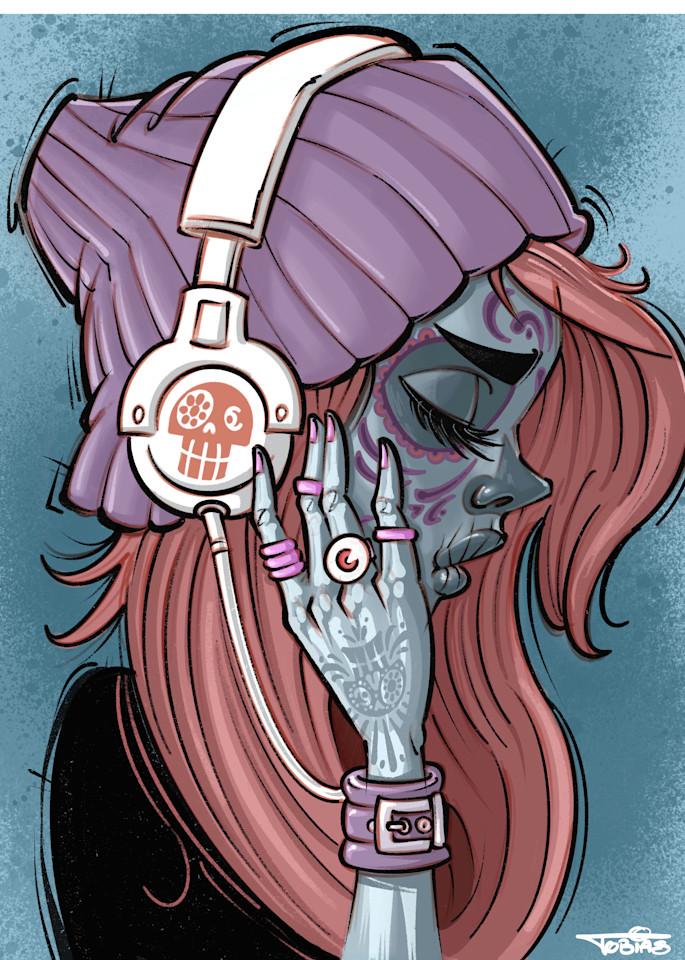 Sugar Skull Tunes Art   Art By Tobias