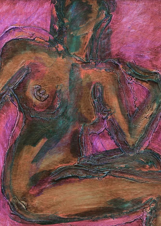 so red, over, shoulder, nude, expressionist, deepcolor, red, pink, jackierobbinsstudio, originalfineartprint