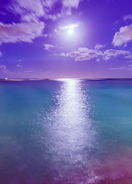 Waikiki Beach at Night With Moon Fine Art Print