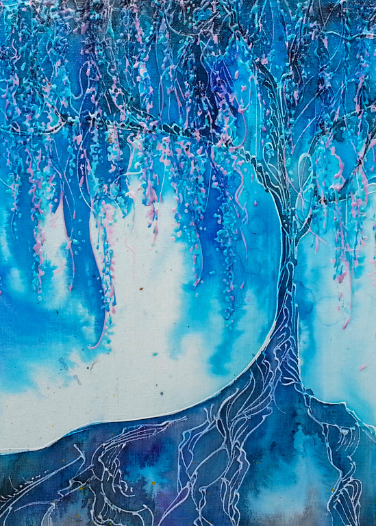 Cyan Dream Willow Painting
