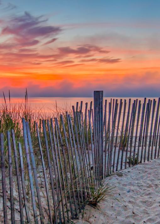 State Beach Sunrise Snow Fence Art   Michael Blanchard Inspirational Photography - Crossroads Gallery