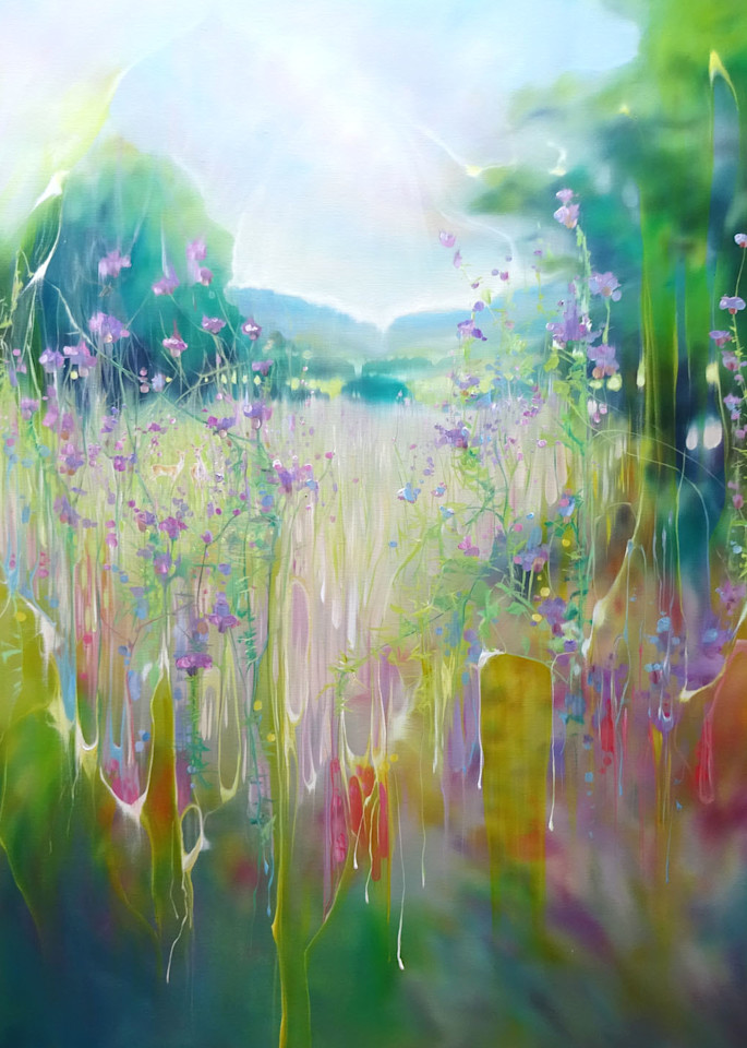 print of echo of a sussex summer meadow with deer and wild flowers