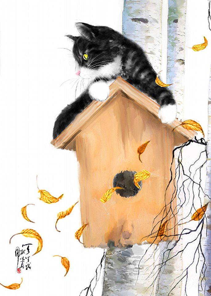 Cat And Autumn Leaves Photography Art   Cheng Yan Studio