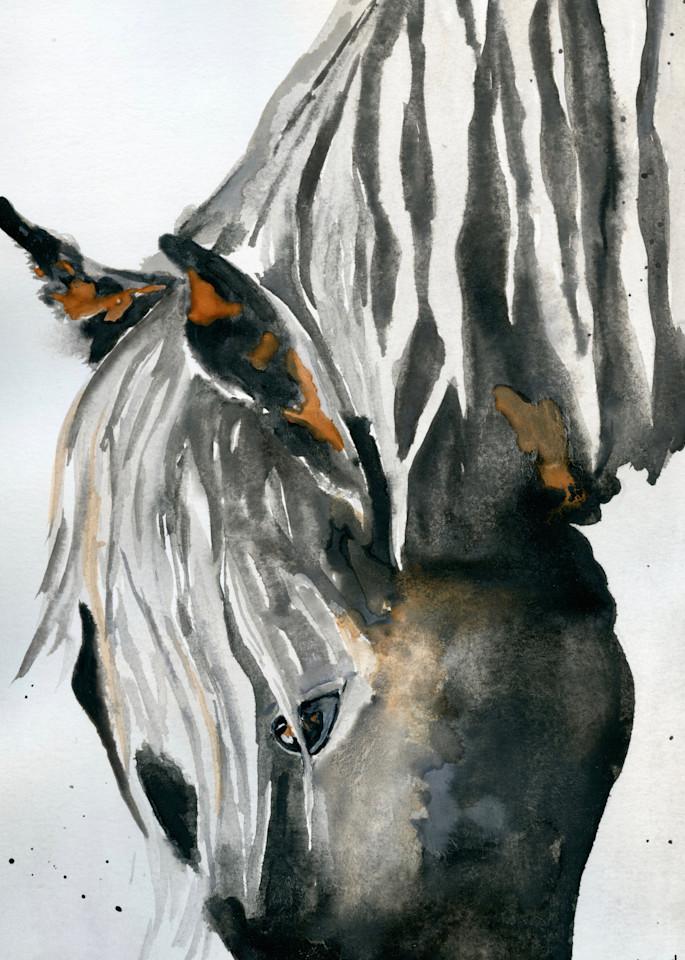 Giclee Print Dark Horse Head Down by April Moffatt