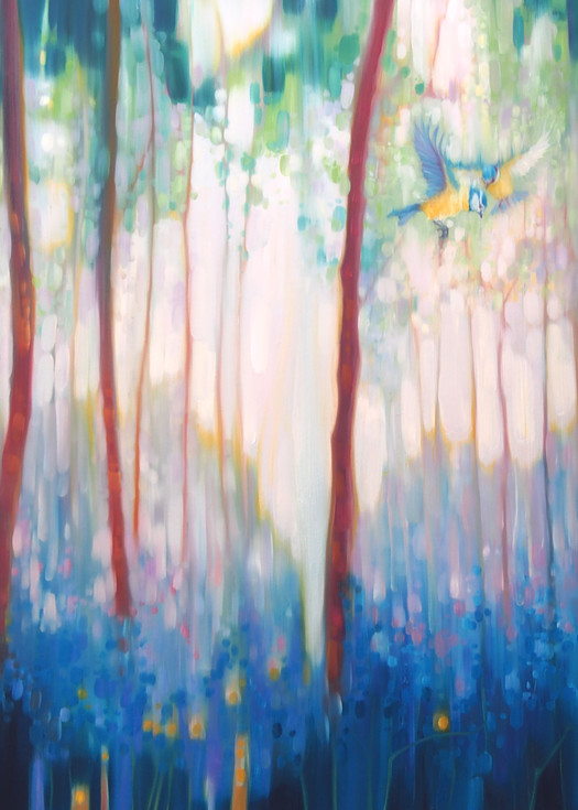 Jubilant Spring forest landscape with blue tits and bluebells