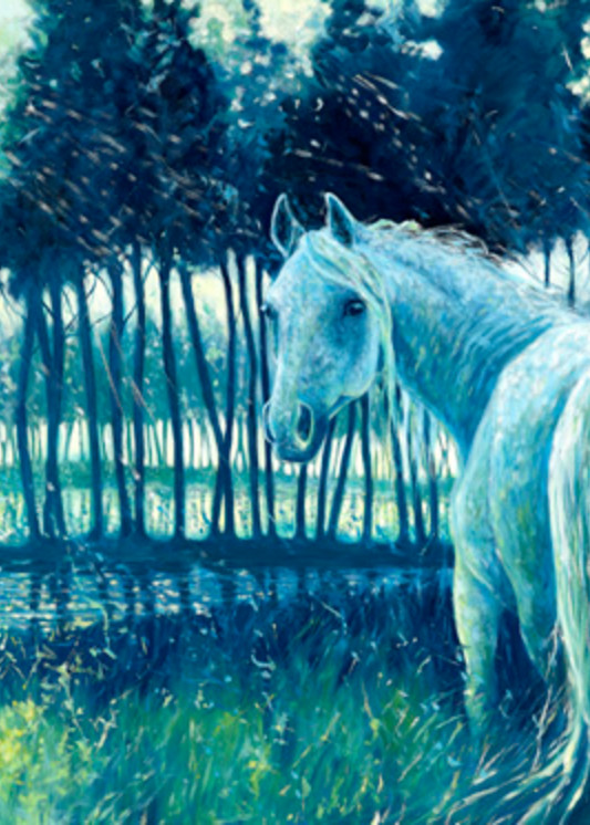 Print Of Blue Mare   Painting Of A Horse At Sunrise Art | Gill Bustamante Artist