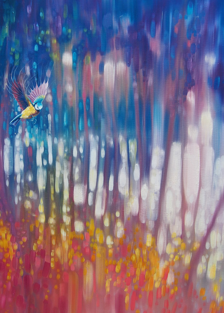Print Of Jewel Of Nature   Semi Abstract With Woodland Bird Art | Gill Bustamante Artist