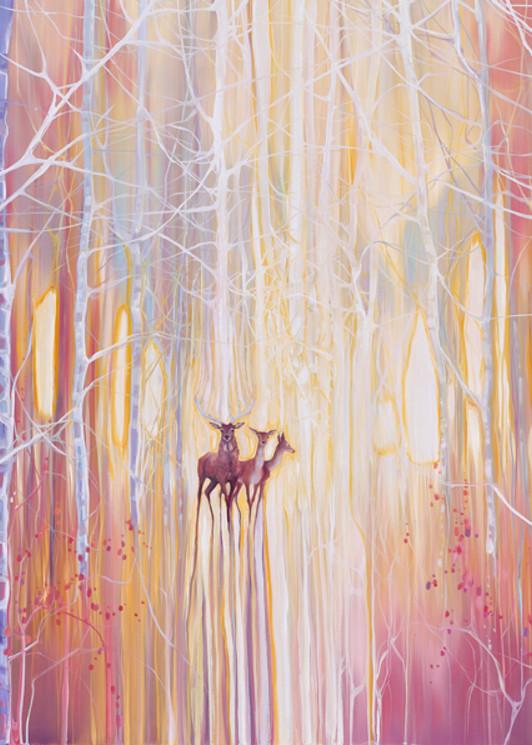 Print Of Manifestation   A Winter Woodland Landscape With Deer Art | Gill Bustamante Artist
