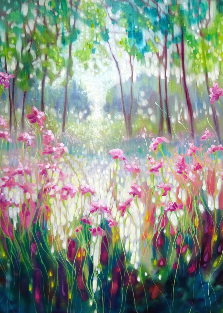 Print Of The Angel Of Spring Rises   Pink Daisies Against A Green Forest And A Lake Art | Gill Bustamante Artist