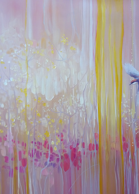 prints on canvas or paper of A pink original oil painting of nuthatch birds in the corner of a wildflower field at dawn, art nouveau, semi abstract, impressionist.