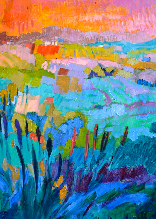 Colorful Abstract Mountain Landscape Art Print by Dorothy Fagan