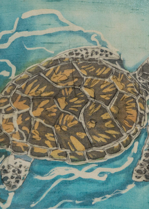 Mama Turtle is a batik on silk painting by artist Muffy Clark Gill. It mesures 11 x 14 in.