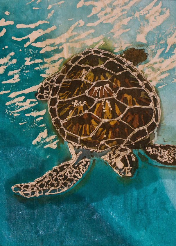 Tortuga V a wax and dye resist painting on silk featuring a Hawksbill turtle.