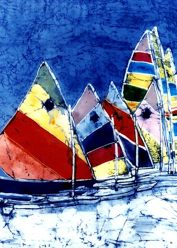 Sailboat Beach is a painting featuring sunfish sailboats resting on a beach from the Tropical Views series by artist Muffy Clark Gill
