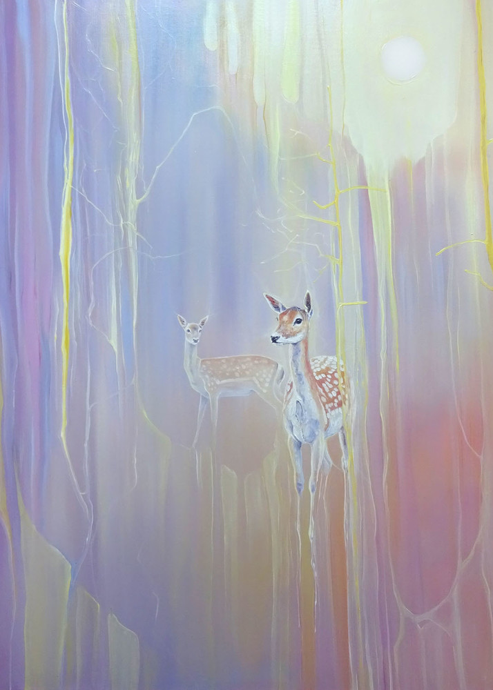 print on canvas or paper of gentle souls, a semi abstract painting of two fallow deer in a woodland clearing