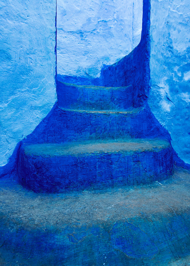 Blue steps in Chefchaouan Morocco the blue city painterly art travel photograph