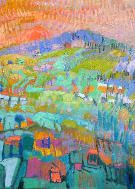 Enchanted Mountain Abstract Landscape Painting, Fine Art Print by Dorothy Fagan