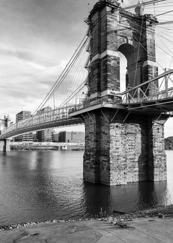 Roebling Bridge In Black And White Photography Art | Eric Hatch