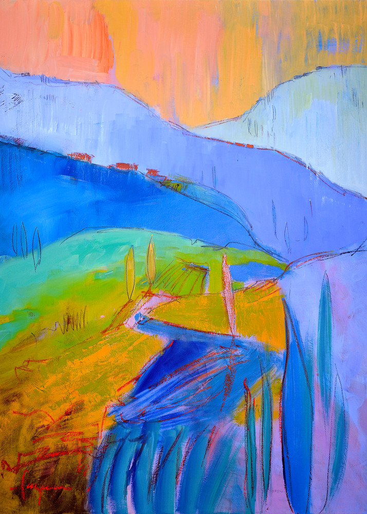 Oversize Blue  Mountain Painting Canvas Print by Dorothy Fagan