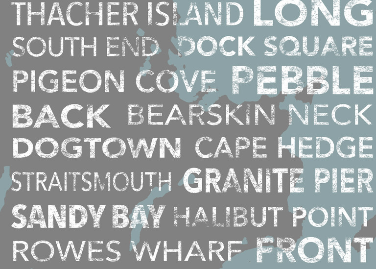 Rockport Beachy With Map Underlay Art | capeanngiclee