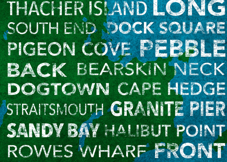 Rockport Earthy With Map Underlay Art | capeanngiclee