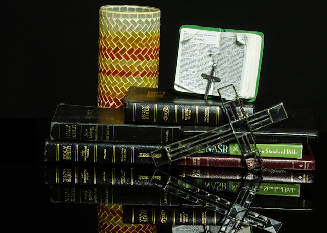 A Fine Art Photograph of a Historical Book Reflection on Black Plexi by Michael Pucciarelli