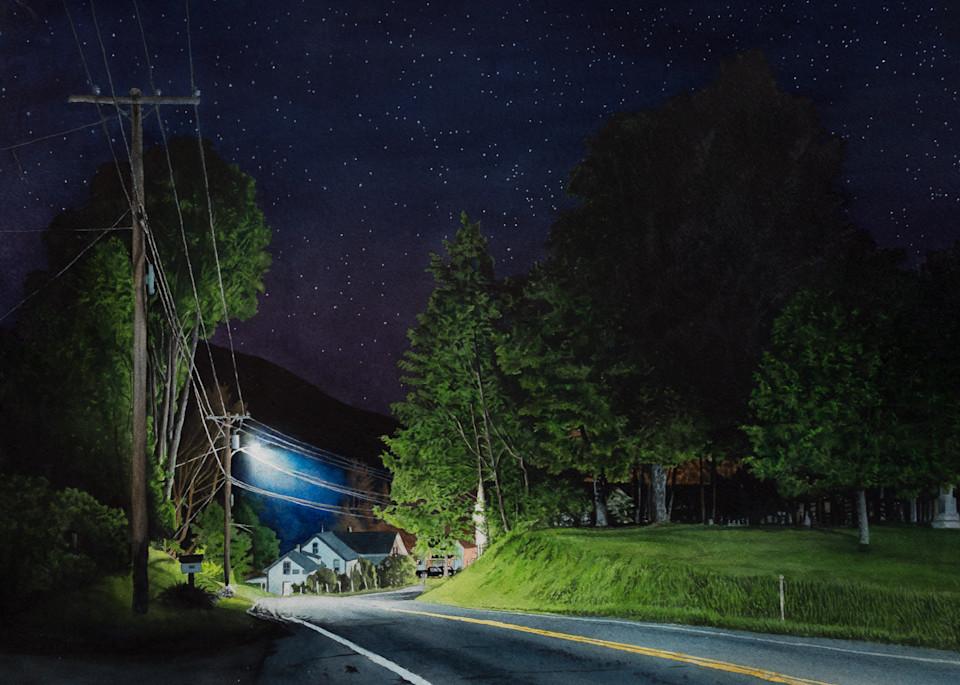 Highway 100, Vermont watercolor nocturne