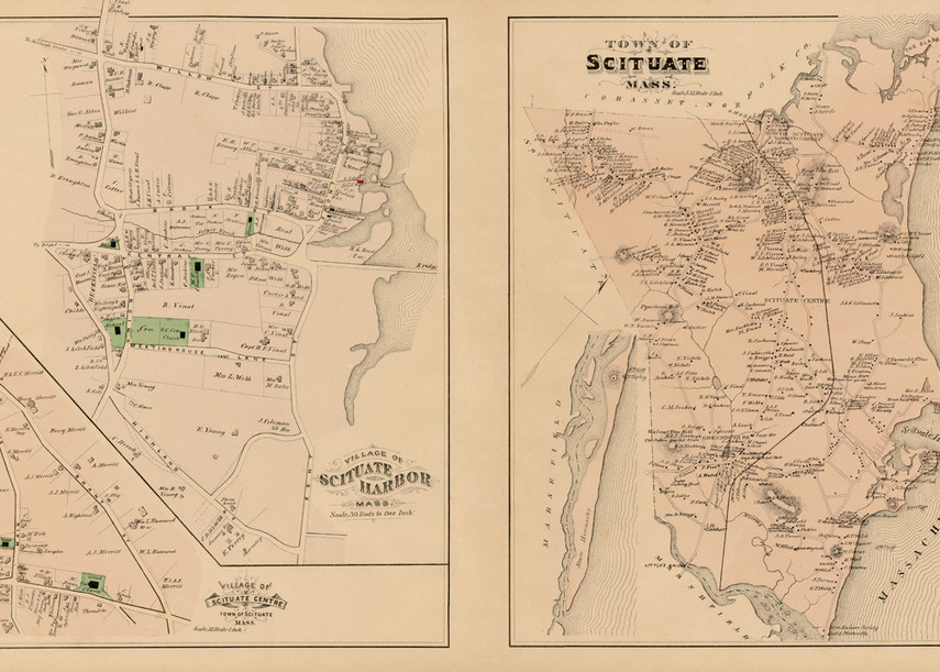 Scituate Town Map With Harbor Detail Art | Frame Center