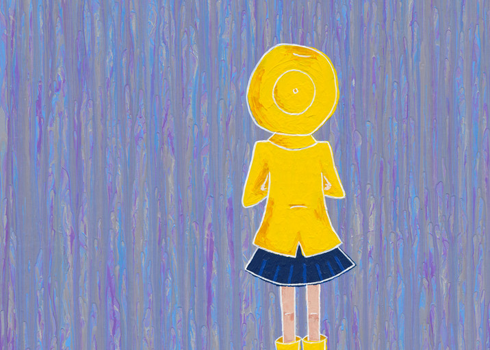 A litte girl in a raincoat