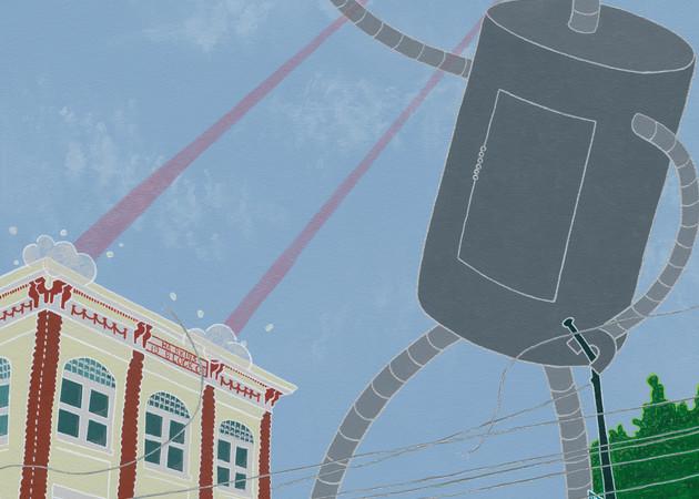A giant robot destroys downtown.