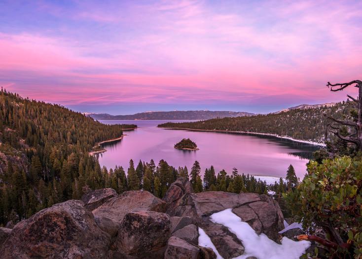 Emerald Bay Winter Sunset Print by Brad Scott