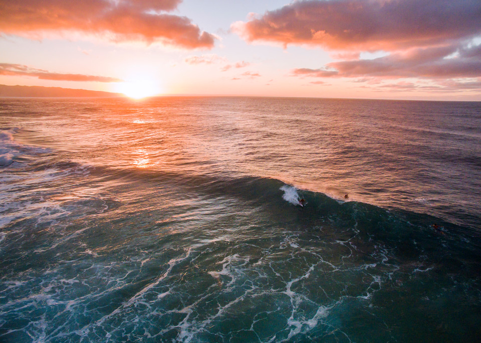 Log Cabins Sunset Aerial Surf Photography Print by Brad Scott