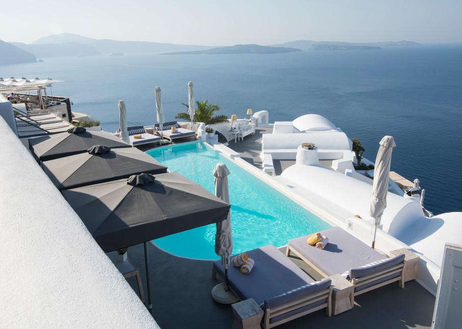 Santorini Pool With A View Art Print by Brad Scott