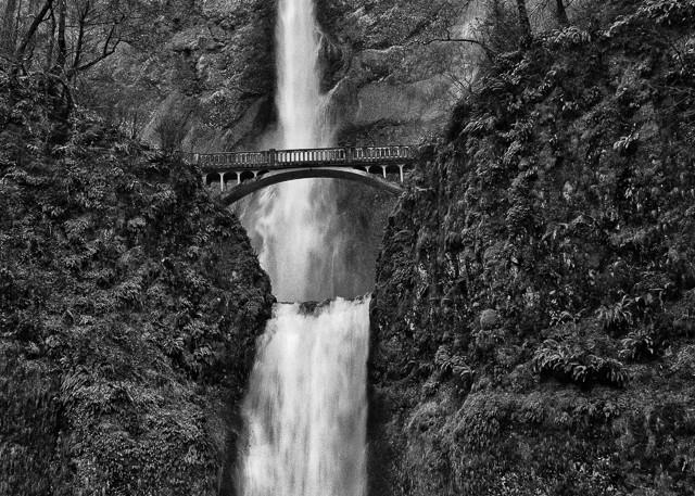 black and white fine art photograph of Multnomah Falls