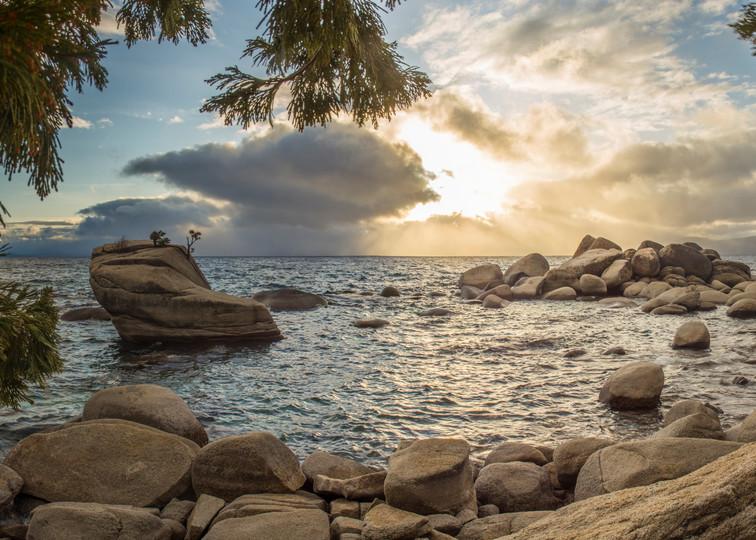 Through The Trees, Bonsai Rock Lake Tahoe Photography Art Print