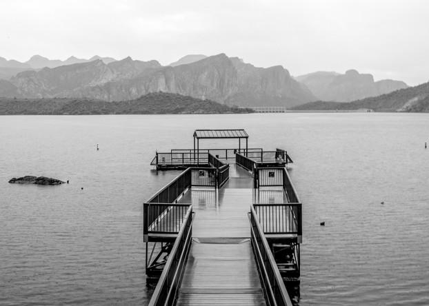 Saguara Lake Pier Black and White Photography Print