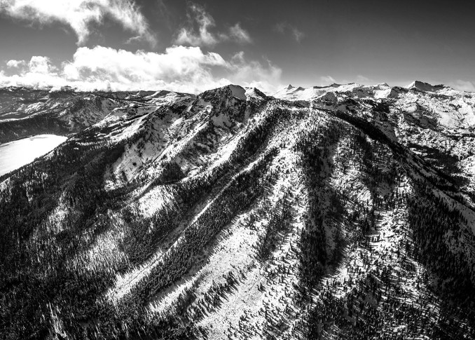Mt Tallac Winter Aerial Limited Edition Black & White Photo Print
