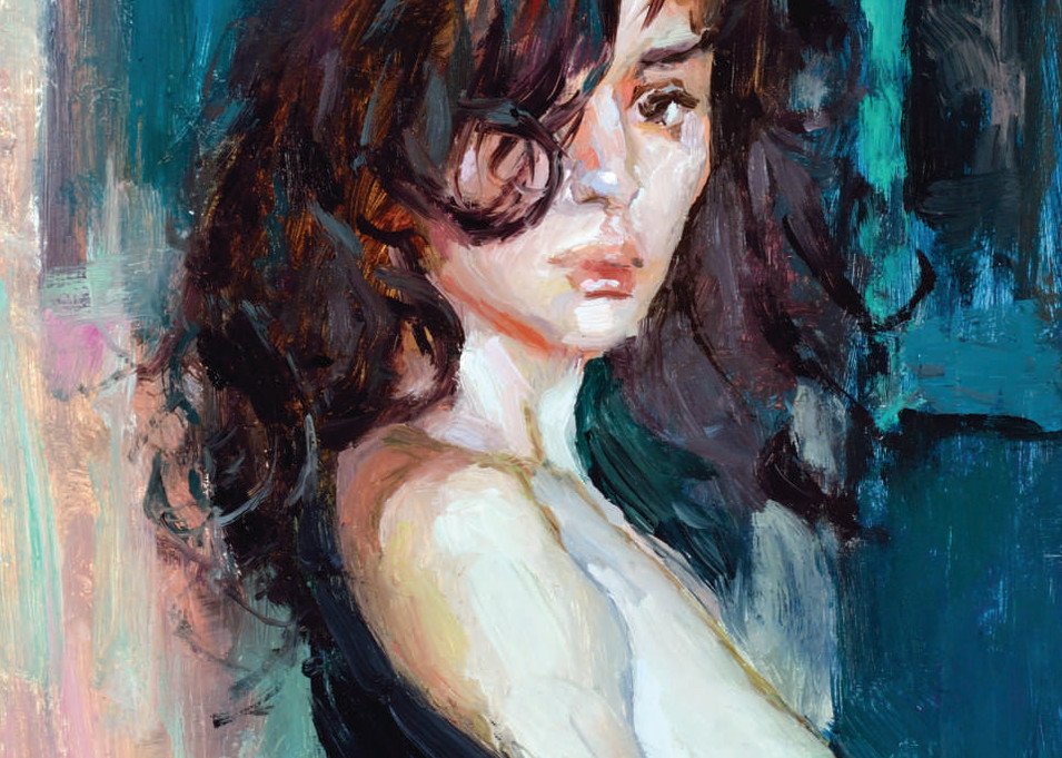 Miniature nude oil painting of a woman in the morning by Eric Wallis