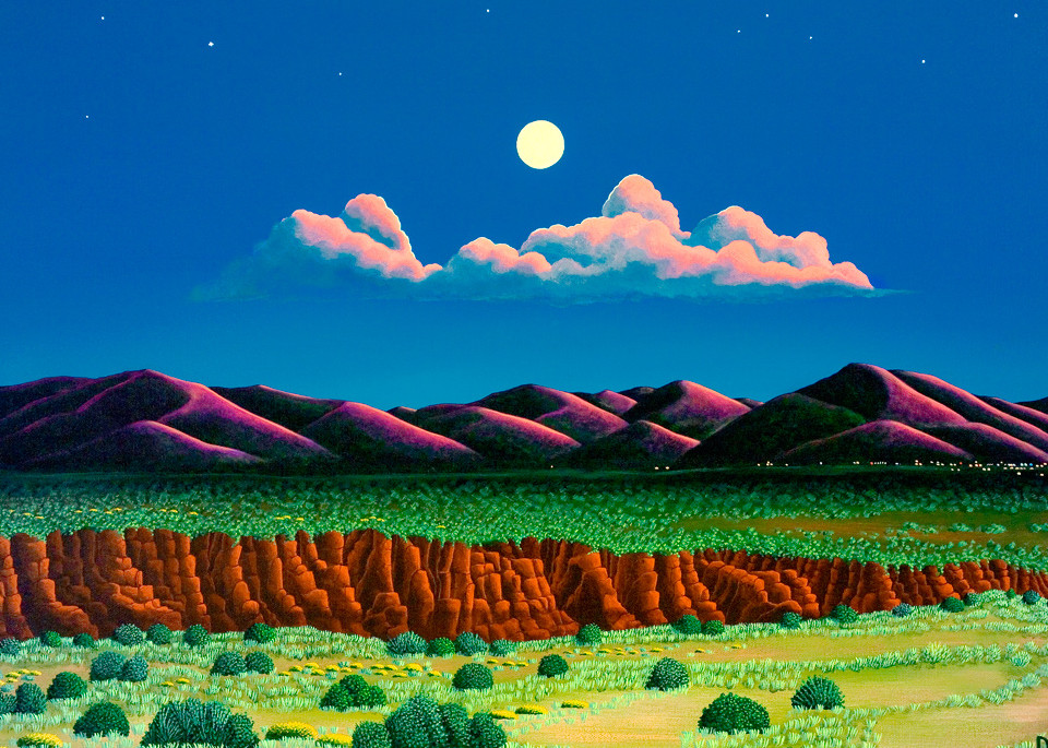 Moonrise Across The Gorge Art | Fine Art New Mexico