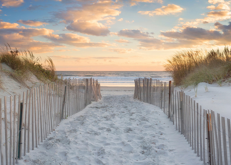 """Second Beach Sunset"" Fine art, Rhode Island panoramic beach sunset photograph by Katherine Gendreau."