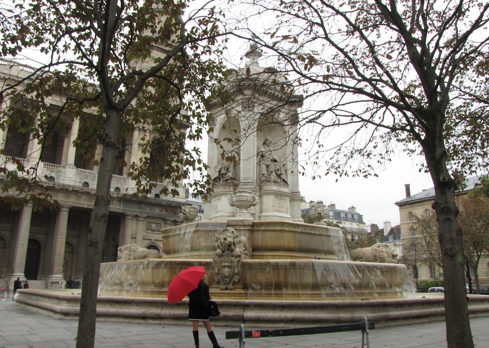 St. Sulpice Fountain And A Bit Of Red Photography Art | Photoissimo - Fine Art Photography