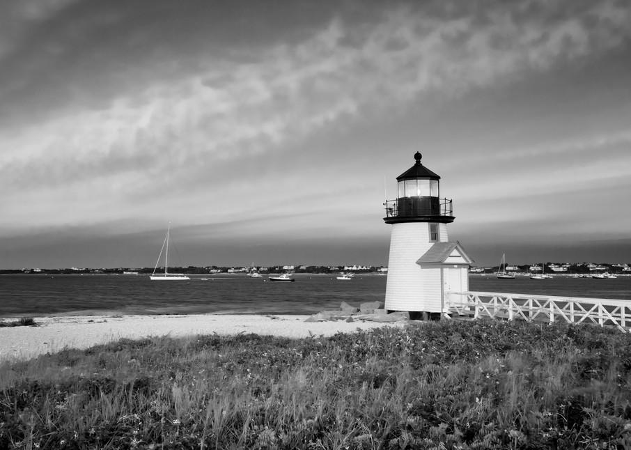 """Brant Point Sunset I"" Nantucket black and white lighthouse photograph"