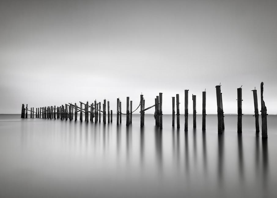 """Still"" Fine art, black and white seascape pier pilings photograph"