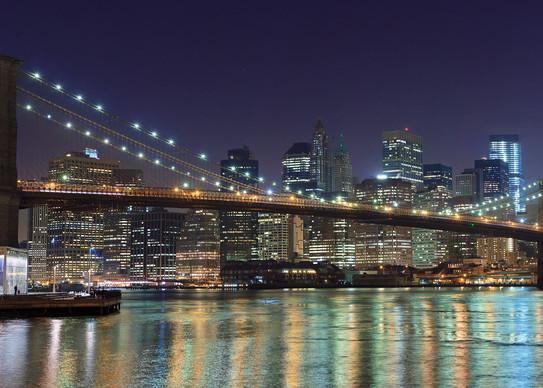 """Brooklyn Bridge at Night"" Panoramic fine art NYC skyline photograph"