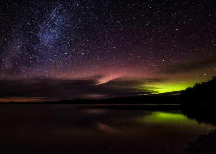 The Fiery Glow Of The Aurora Over Moosehead Lake. Art | Scott Snyder Photography