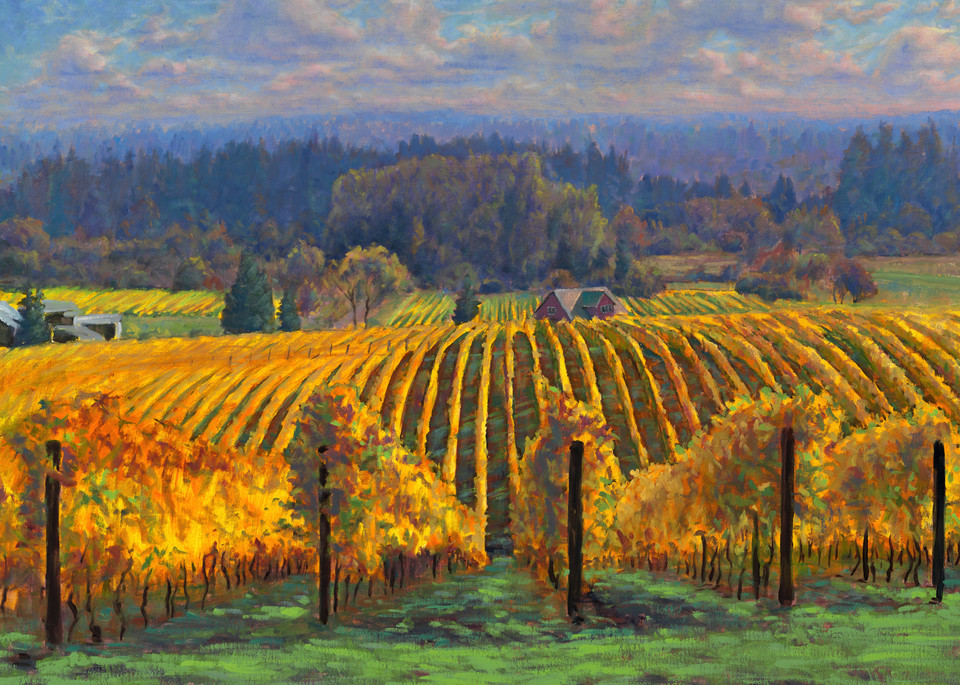 Sokol Blosser Vineyard in Dundee Oregon, landscape painting. Prints available on canvas or paper.
