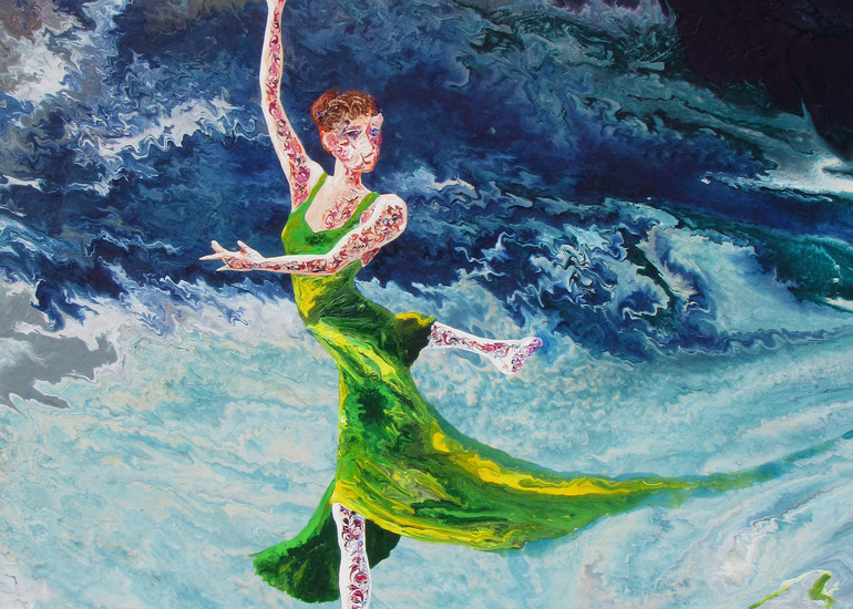 Beautiful Ballerina Art - Four Seasons (i) - Spring, Abstract Figurative Painting