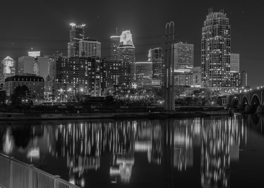Black and White Minneapolis Skyline - Minneapolis Wall Art   William Drew