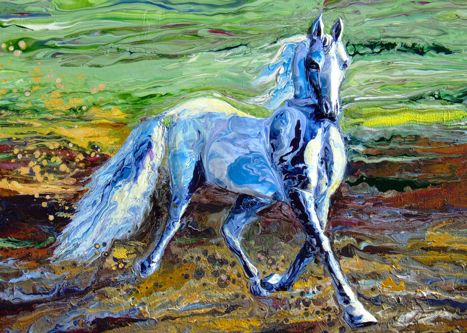 Abstract Acrylic Relief of Horse Art
