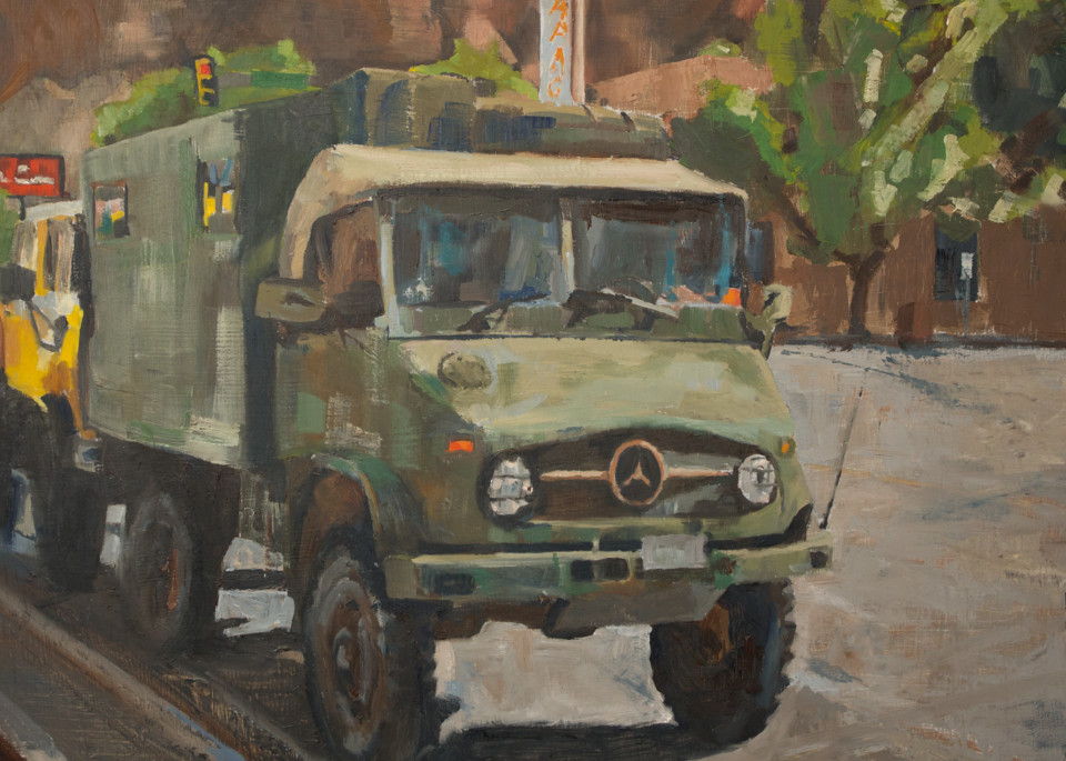 Unimog red rock still life oil paintings and art prints from artist Booker Tueller
